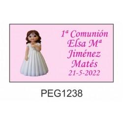 Pegatina niña con rosa