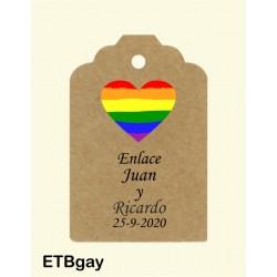 Etiqueta colgante arco iris
