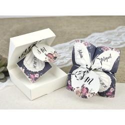 Invitación tipo caja con comecocos origami