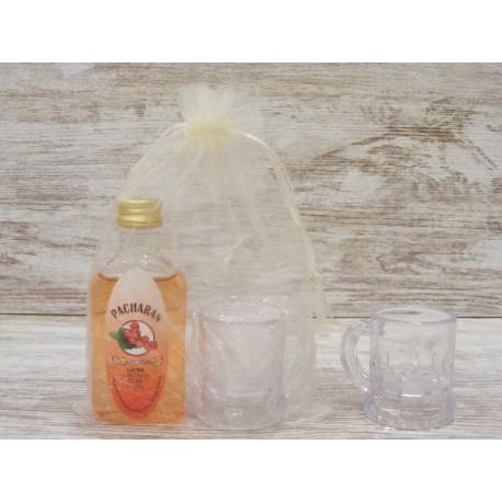 Licor Pacharán botella petaca 50ml + jarrita chupito + bolsa