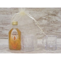 Licor Vodka Caramelo en botella petaca 50ml + jarrita chupito + bolsa
