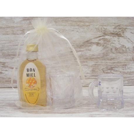 Licor Ron Miel en botella petaca 50ml + jarrita chupito + bolsa