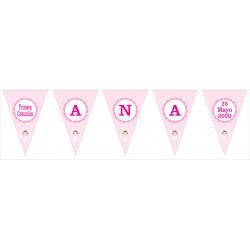 banderín guirnalda topos rosa c/dibujo
