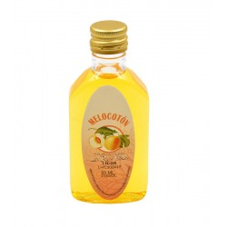 Licor melocoton en botella petaca 50ml.