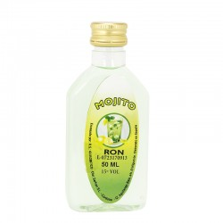 Licor ron mojito en botella petaca 50ml.
