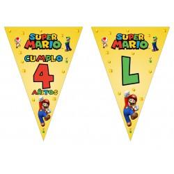 Banderín guirnalda Super Mario personalizada
