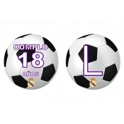 Banderín guirnalda Balón fútbol Real Madrid Personalizada