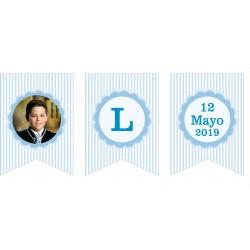 Banderín guirnalda con foto comunión personalizada