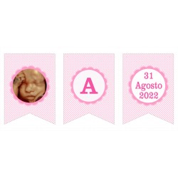 Banderín guirnalda con foto baby shower personalizada