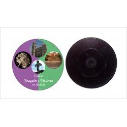 Chapa imán con aguja 59mm personalizada
