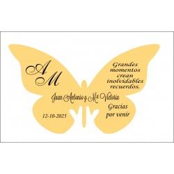 mariposa agradecimiento papel dorado