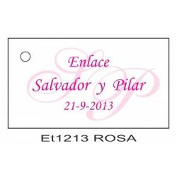 Etiqueta iniciales rosa
